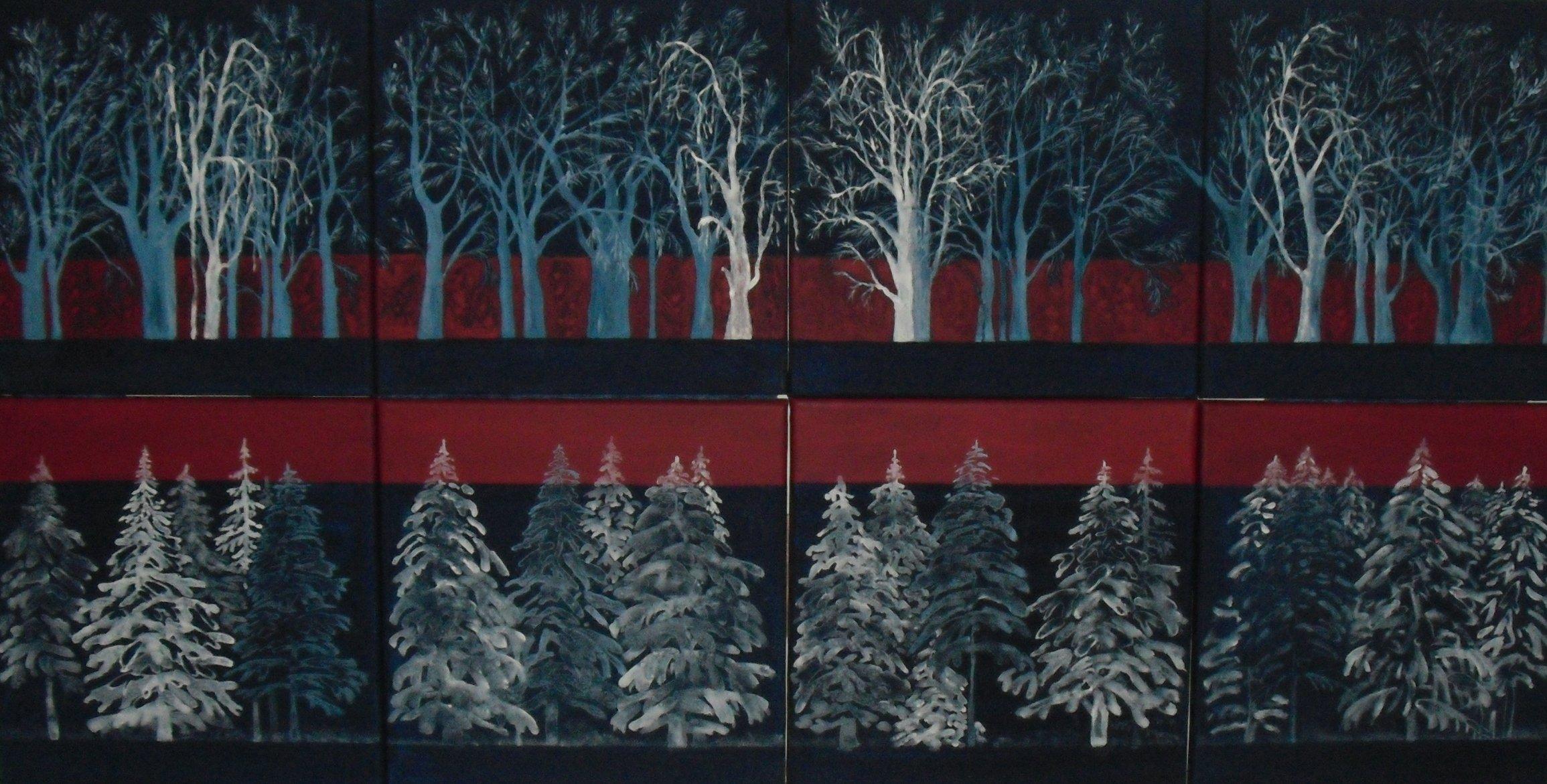 """Acryl und Leinwand, """"Wald bei Vogelgesang"""""""